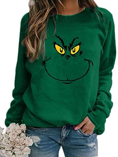 Meladyan Women's Funny Graphic Crew Neck Sweatshirts Merry Christmas Raglan Sleeve Pullover Shirts Tops Dark Green