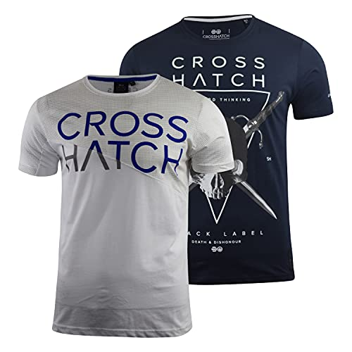 Crosshatch Mens T-Shirt 2 Pack Crew Neck Top Tee Quality Cotton Spring and Summer Top(XL,Night Sky-White(kamp))