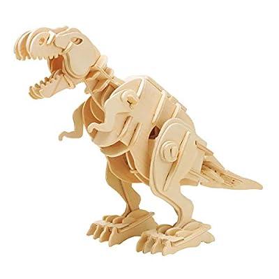 ROBOTIME Walking Trex Dinosaur 3D Wooden Craft Kit Puzzle - Sound Control Robot T-Rex Model