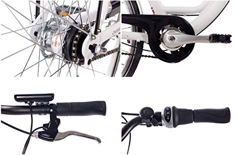 CHRISSON 28 Zoll E-Bike Trekking und City Bike für Damen – E-Lady Weiss mit 7 Gang Shimano Nexus Nabenschaltung – Pedelec Damen mit Bafang Vorderradmotor 250W, 36V kaufen  Bild 1*