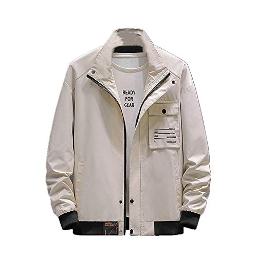 NOBRAND Frühling und Herbst New Outerwear Herren Fat Plus Size Trend Mix and Match Handsome Jacket Herren Loose Coat Trend Gr. XXXXXXXL, khaki
