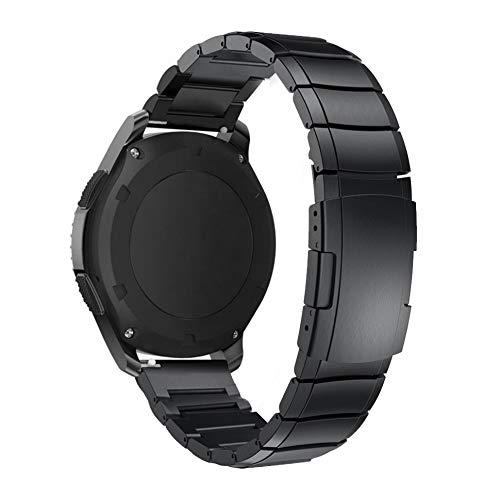 RHBLHQ 22mm 20mm Banda De Reloj For La Galaxia De Samsung del Reloj 42 De 46 Mm De Acero Inoxidable Correa De Engranaje S3 (Color : Black, Size : 22mm)