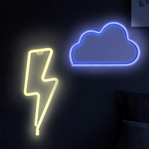 Cloud &Lightning Bolt Neon Lights, Creative LED Neon Signs for Bedroom, Kids Room, Beer Bar, Birthday Party, Children's Gift