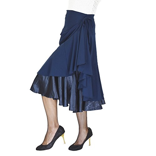 DFギャラリー スカート ダンス衣装 レッスン着 ミディアム丈 裾アレンジ EK3260 フリー ネイビー