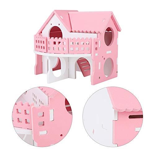 YOUTHINK Casa di Lusso per criceti Rosa, Piccola casa per Animali Domestici con Gabbia a Doppio Strato per Balcone in Villa per criceti