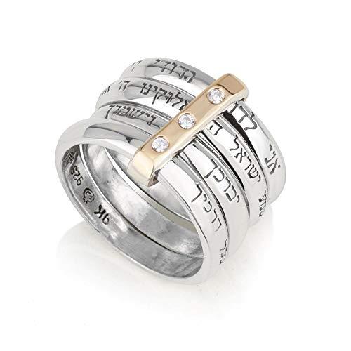 Anillo de plata 925 con oro puro de 9 quilates y diamantes de circonitas, 4 piezas con 4 bendiciones: Shema Israel, I Am My Beloved, Sacerdotly Blessing, Road Bless (10,5)
