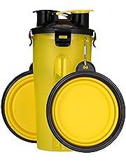 BuffyIn Botella de agua de viaje 2 en 1 para mascotas, cuenco plegable de alimentación para perros, recipiente de comida portátil al aire libre para perros y gatos