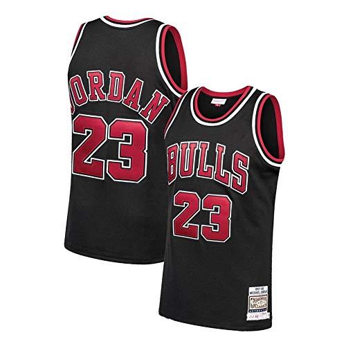 Jordan Bulls 23# Men Basketball Jersey,Unisex Retro Sleeveless Embroidered Basketball Top, Gym Sports Vest Sweat Wicking Quick Drying (Black, XX-Large)