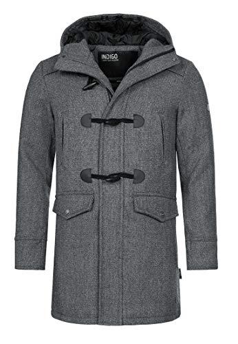 Indicode Herren Liam Dufflecoat mit Stehkragen und Kapuze | moderner Wollmantel mit 5 Taschen Warmer Wintermantel gefütterter Herrenmantel Winter Jacke Mantel für Männer Grey Mix L