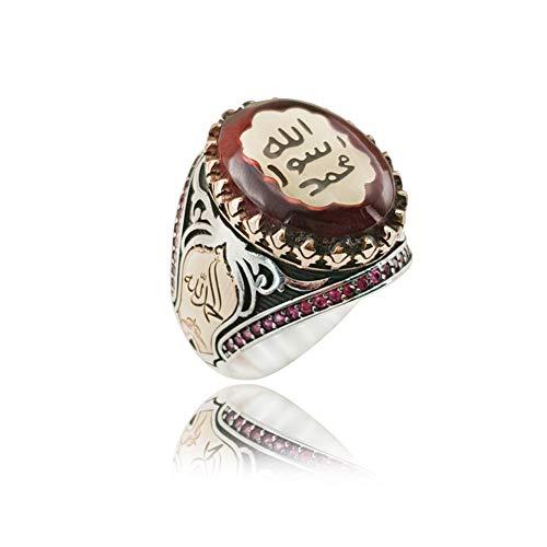 Anello in argento sterling 925 ambra Sigillo islamico Profeta Muhammad Dichiarazione ottomana turca Boho Anelli musulmani per uomo 10 Rosso