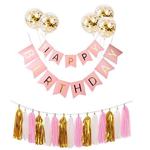 Jinxuny 7 stks Verjaardag Party Decoraties Ballonnen Brief Banner Confetti Hangende ballonnen kwastjes Garland Latex Kit voor Meisje Vrouwen Verjaardag Gelukkig Feestbenodigdheden roze