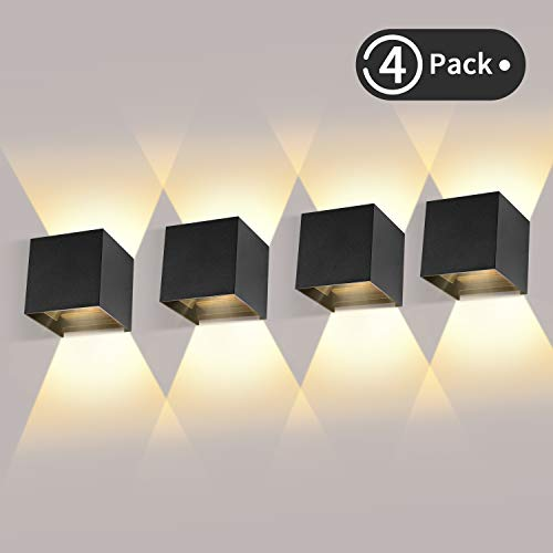 4 Pcs Moderno Lampara de Pared LED, 12W Aplique Pared Interior/Exterior de Aluminio 3000K Blanco Cálido Led Lámpara Pared Negro