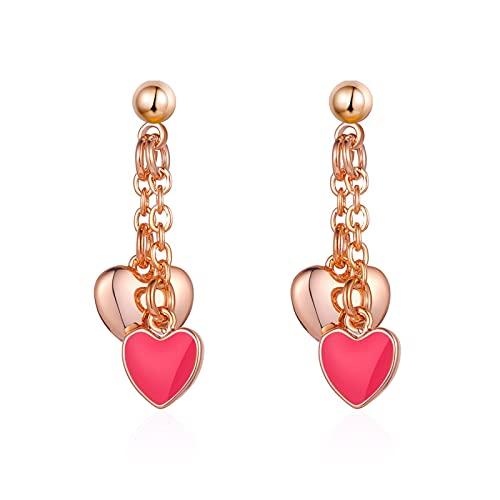 Pendientes con colgante de amor rosa Regalo femenino Ropa a juego Pequeño y elegante Dulzura Encantadora