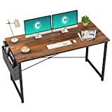 Cubiker Computer Desk 55' Home Office Writing Study Desk, Modern Simple Style Laptop Table with Storage Bag, Dark Rustic