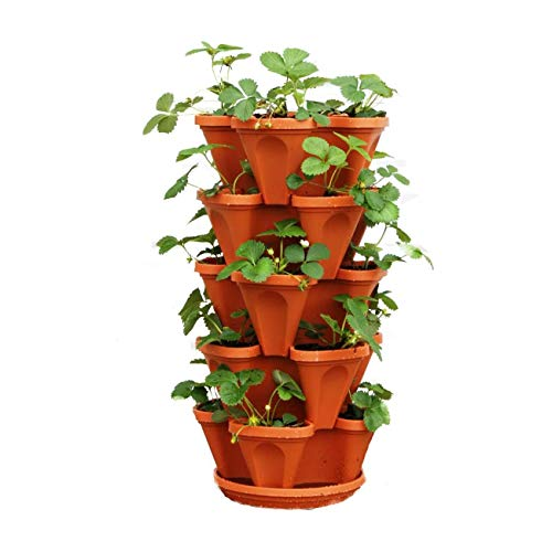 Stand Stacking Planters Strawberry Planting Pots, Stackable Herb, Garden Planter Set, Strawberry and...