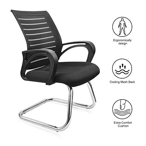 Dripex Freischwinger Bürostuhl mit Armlehnen Netzbezug Konferenzstuhl 55x52x93cm Besucherstuhl Ergonomisch Design Schwingstuhl für 80kg Gewicht (Schwarz)