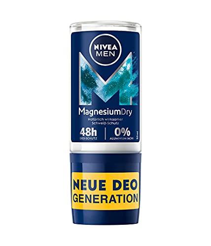 NIVEA MEN MagnesiumDry Deo Roll-On (50ml),Deodorant mit Magnesium für natürlich wirksamen Schweiß-Schutz, Deo mit 0{4c1208208571e51bee22cd55e7825db4ffb6e621e6d841563bd3c55466750cae} Aluminium (ACH) und 0{4c1208208571e51bee22cd55e7825db4ffb6e621e6d841563bd3c55466750cae} Alkohol*