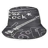 Sombrero de Pesca,Cortinas De Guitarra para Dormitorio,Senderismo para Hombres y Mujeres al Aire Libre Sombrero de Cubo Sombrero para el Sol