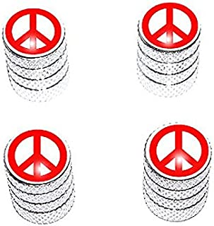 Graphics and More Peace Sign Red - Tire Rim Valve Stem Caps - Aluminum