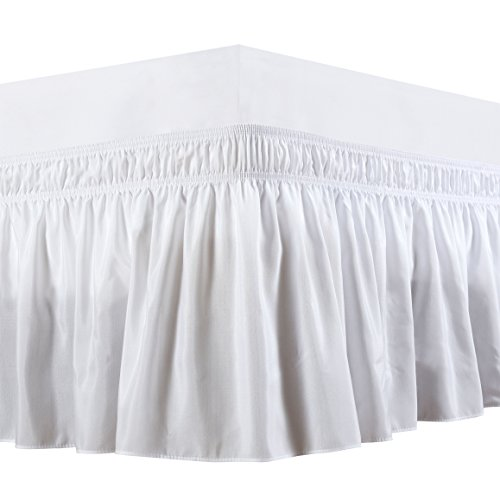 Save %40 Now! Biscaynebay Wrap Around Bed Skirts Elastic Dust Ruffles, Easy Fit Wrinkle and Fade Resistant Silky Luxrious Fabric Solid Color, White for Queen Size Beds 15 Inches Drop