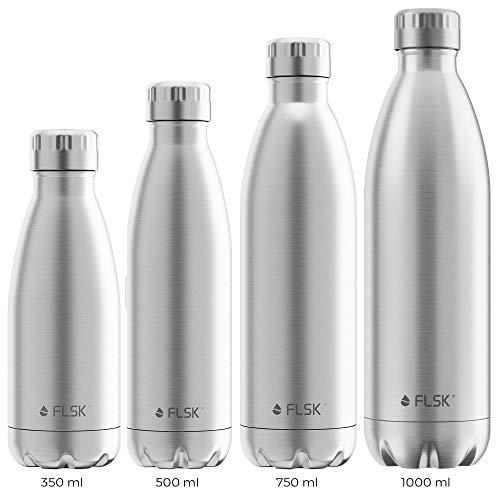 FLSK das Original Trinkflasche Thermoflasche Isolierflasche hält 18h heiß - 24h kalt (Farbe Stainless, Grösse 750ml)
