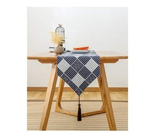 YIJTE Patrón de algodón y Lino Ukiyoe de la Armadura de Mesa Ripple Tabla Bandera de Mesa de té del Zapato Gabinete Cubierta con borlas Adecuado para hogar Moderno.
