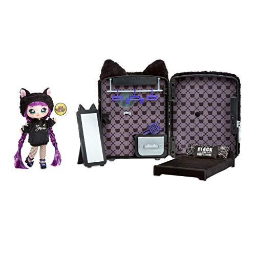 Na! Na! Na! Surprise 3-in-1 Rucksack-Schlafzimmer Black Kitty Playset mit limitierter Auflage Tuesday Meow Doll