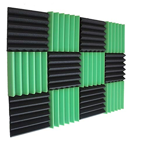 "Wedge Green Charcoal 2 Inch x 12"" W x12"" L Acoustic Foam Panels Recording Studio Foam (12 Pack)"