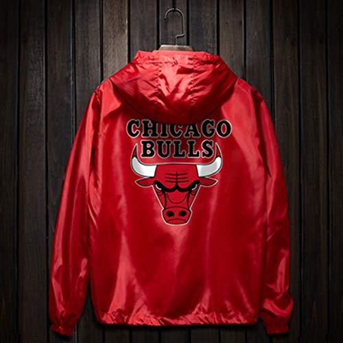 Sudadera con Capucha De Baloncesto Chicago Bulls Entrenamiento Deportivo del Viento Chaqueta De Hip Hop De Los Hombres Flojos Street Dance Informal Camiseta Resistente Deportes Red-S