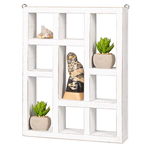 Knick Knack Shelf, Weathered White Wood - Wall Mounted or Freestanding Farmhouse Decor Display Case for Oils, Crystals, Rocks, Trinkets, Curios & More