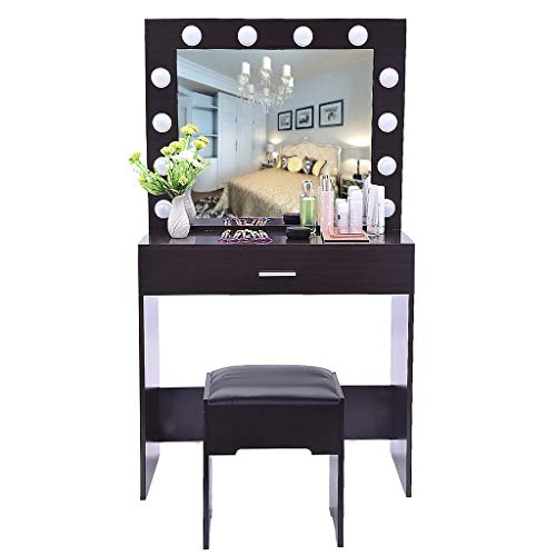 For Sale! Dressing Table,Makeup Table Vanity Set with Mirror Lights, Dresser with 1 x Stool, 1 x Mir...