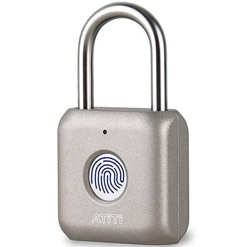 Fingerprint Padlock, ATITI Smart Lock with Keyless, Easy to Set Your Fingerprint, Biometric Padlock Suitable for Locker, Gym, School, Office, Fence, Storage, Hasp, Deadbolt, Door(1 Pack)