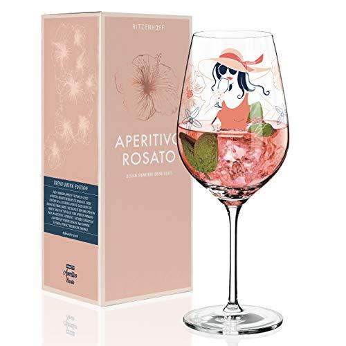 RITZENHOFF Aperitivo Rosato Aperitifglas von Andrea Arnolt, aus Kristallglas, 600 ml, mit trendigen Dekoren