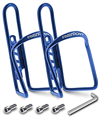 Aduro Bike Water Bottle Holder Aluminum Cage, [2X Pack] Bicycle Water Bottle Mount Lightweight for Cycling Fits Any Bike with Easy Installation (Blue)