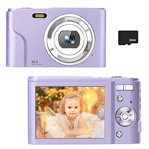 Digital Camera for Kids Boys and Girls - 36MP Children's Camera with 32GB SD Card,Full HD 1080P Rechargeable Electronic Mini Camera for Students, Teens, Kids(Purple)