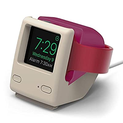 elago W4 Apple Watch Stand Compatible with iWatch Series 6, Series SE, Series 5, Series 4, Series 3, Series 2, Series 1 / 44mm, 42mm, 40mm, 38mm, Support Night Stand Mode [Aqua Pink] from elago