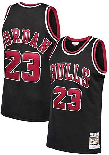 Jordan_Bull_23# Men Basketball Jersey,Unisex Retro Sleeveless Embroidered Basketball Top, Gym Sports Vest Sweat Wicking Quick Drying (Black, M)