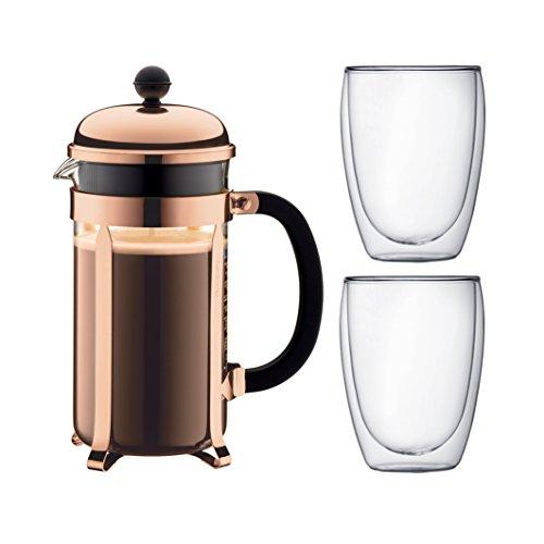 Bodum K1928-18-1 Chambord Set Kaffebereiter 8 Tassen mit 2 Gläser 35 cl Doppelwand Pavina, Chrom, 1 Liter, Pink