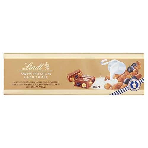 Lindt Schokolade Vollmilch, Traube & Nuss, 300g Tafel (Swiss Premium Chocolate Lait-Raisin-Noisettes)