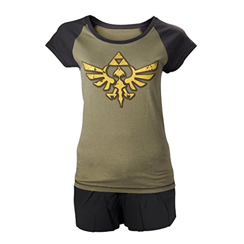 Nintendo Legend of Zelda Oro Enlace Logo Shortama ropa de
