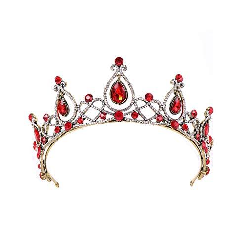 WGZ Corona Tocado Adulto Novia Boda Corona Accesorios de Boda Princesa Cumpleaños Lujo Accesorios (Color : Red)