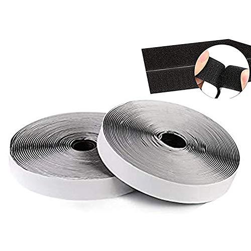 Loobani 粘着テープ 両面テープ 面ファスナー 強粘着裏糊付 粘着力強い オス メス DIY用 業務用 家庭用 工業用 ホワイト 幅2CM×長10M 2本セット 2cmx10m (ブラック)
