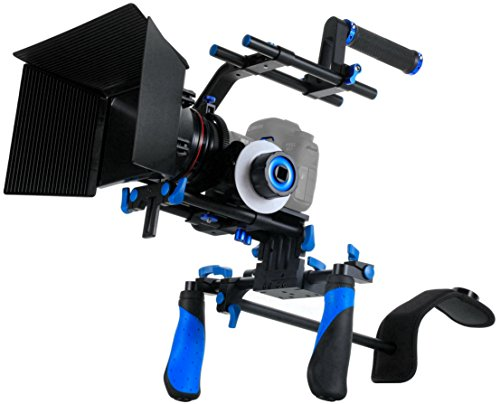 SunSmart DSLR Rig Video Camera Shoulder Mount Kit Including DSLR Rig Shoulder Support, Follow Focus, Matte Box, Adjustable Platform, Top Handle and C-Shape Support Cage