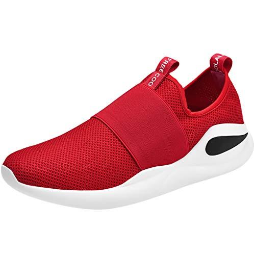 Zapatillas Running para Hombre TWIFER Casuales Moda Shoes Zapatos de Senderismo para Hombres Ligeros Comodos Outdoor Calzado Suela Suave Antideslizantes Zapatos de Trabajo Industrial Rojo