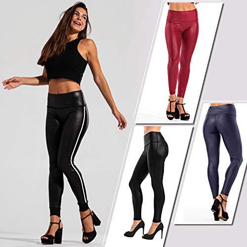Zena Faux Leather Leggings | High Waisted Pants| Black Leggings for Women|Tummy Control+Stretchy (Black, L)