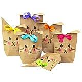 Papierdrachen 12 Bedruckte Geschenktüten zu Ostern - mit Hasengesicht - ideale Geschenkidee oder Oster Dekoration - mit Holzklammern | Osternest zum Basteln und Verschenken | Ostern 2021