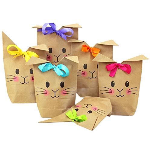 Papierdrachen 12 Bedruckte Geschenktüten zu Ostern - mit Hasengesicht - ideale Geschenkidee oder Oster Dekoration - mit Holzklammern   Osternest zum Basteln und Verschenken   Ostern 2021