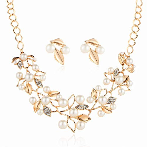 MSYOU Elegant Women Necklace Creative Flower Leaf Pearl Pendant Necklace Jewelry Accessories for Lady Banquet Wear