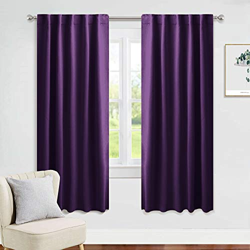 PONY DANCE Blackout Window Curtains - Living Room Home Decoration Thermal Insulated Back Tab Curtains/Window Coverings for Kids' Room, W 42 x L 63 Inches, Royal Purple, 2 Pieces