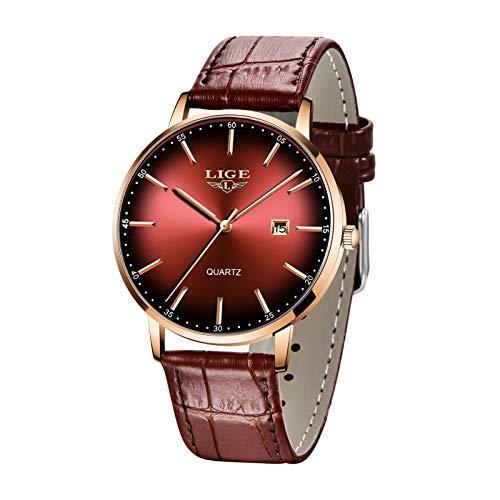 Relojes LIGE para Hombre Ultrafino Impermeable Analógico con Fecha de Cuarzo Correa de Cuero Reloj de Pulsera para Hombre Rojo
